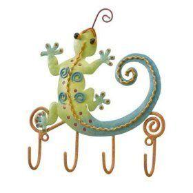 Tropical Gecko Lizard Wall Decor Key Rack Metal Hooks by Regal Art & Gift, http://www.amazon.com/dp/B0015OFVPY/ref=cm_sw_r_pi_dp_9Y2-rb11DS4FY