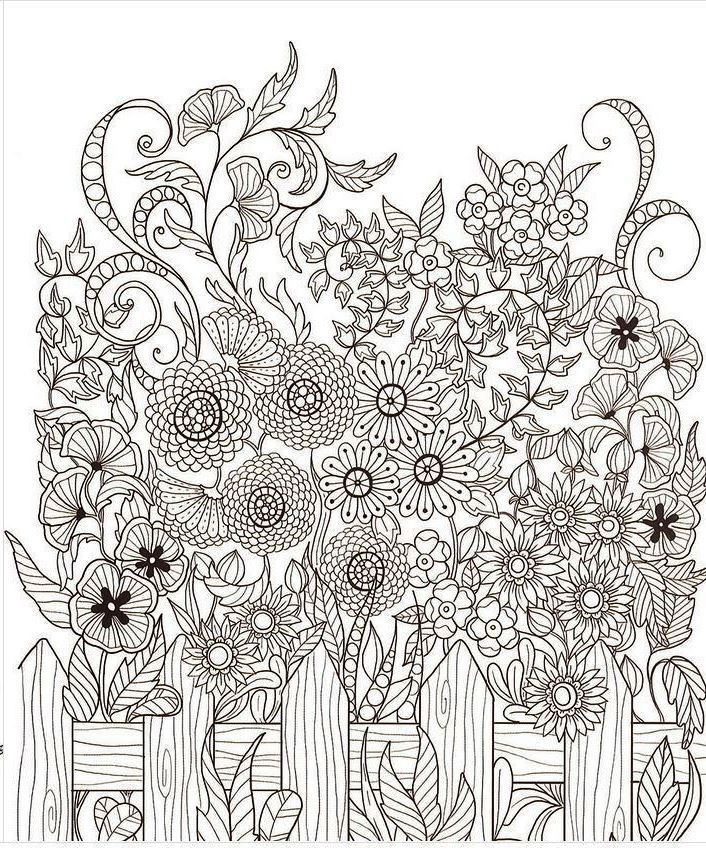 Flower Garden Picket Fence Coloring Book Pages Adult Coloring