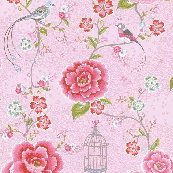 313011 Magenta Floral Birds Trail