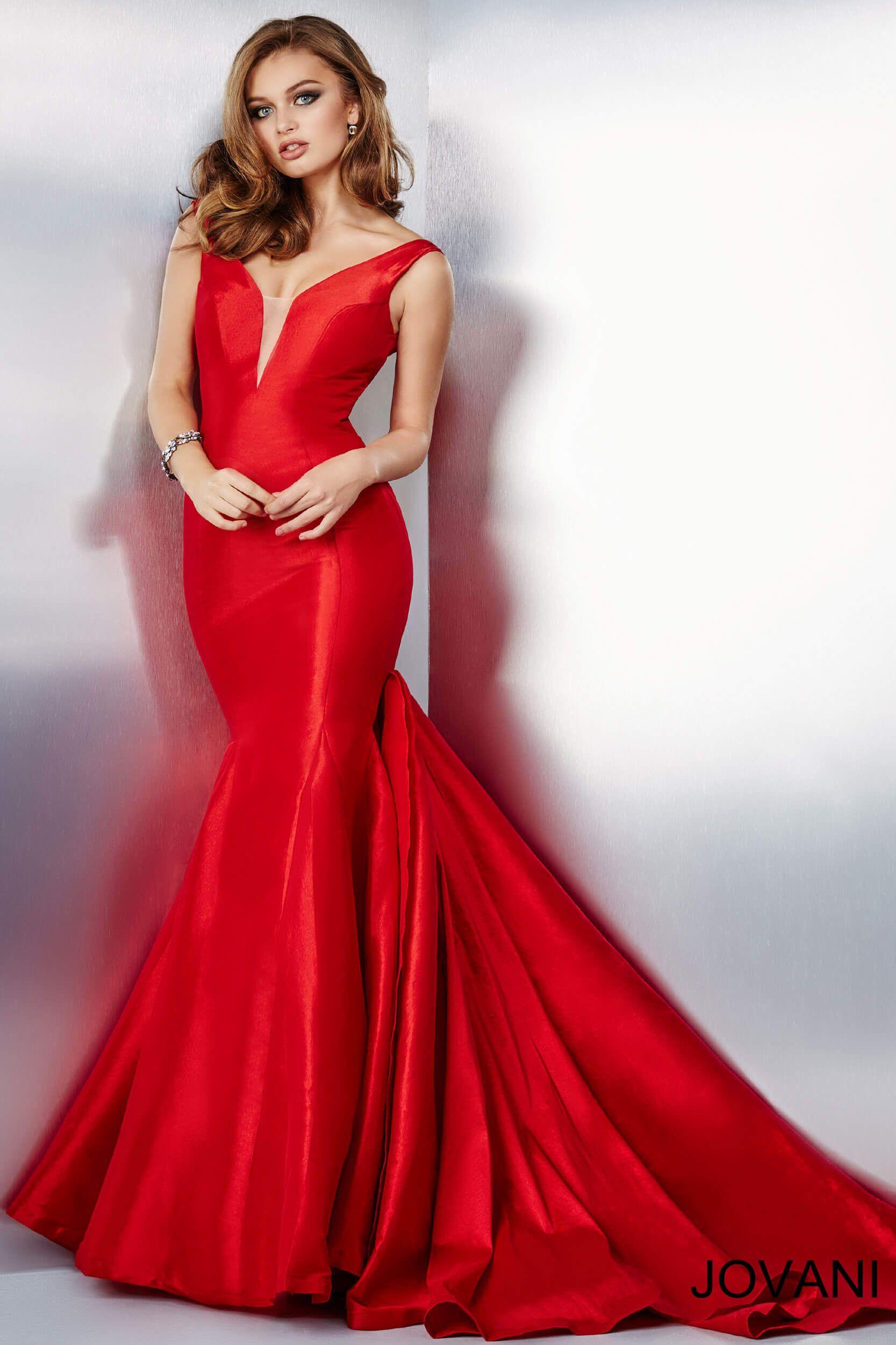 Red Mermaid Style Prom Dress - Ocodea.com