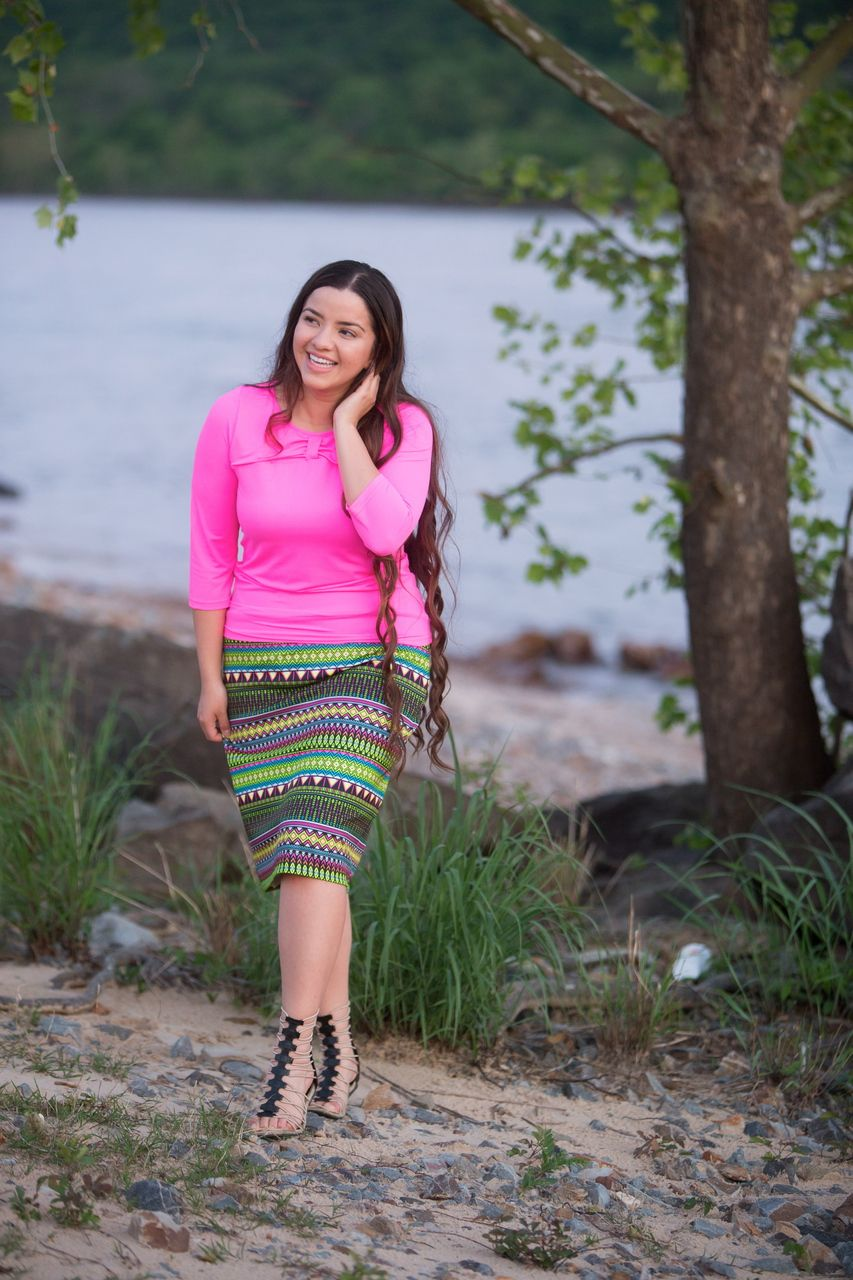 1b86ebd740 Modest hot pink bow swim top and bright Aztec-print swim skirt. Modest  apparel