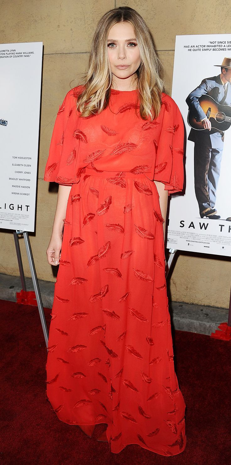 Nice red evening dress elizabeth olsen channeled her inner bohemian