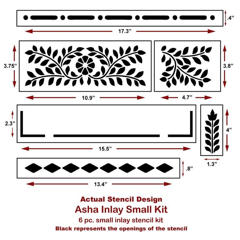 Asha Bone Inlay Stencil - Bone Inlay Designs for F