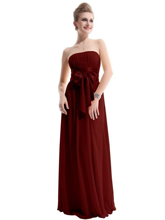 Maroon strapless long flowy prom dresses with bow | Maroon prom ...