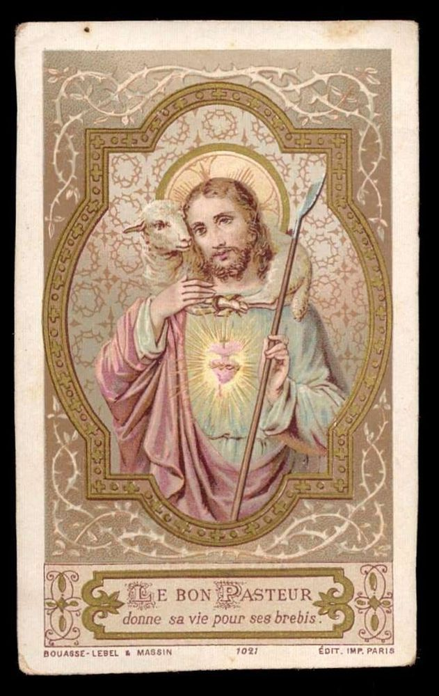 JESUS THE GOOD SHEPHERD Antique BOUASSE HOLY CARD