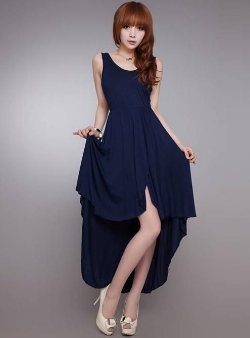 Blue Dovetail Irregular Hem Elegant Dress