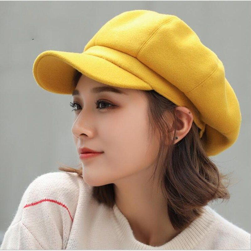 Womens Fashion Beret Hat Octagonal Hats Corduroy Vintage Boina Autumn Winter Newsboy Caps