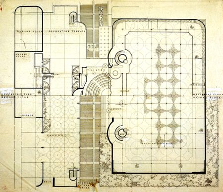 floor plan johnson wax arq plan pinterest trame architectes et organique. Black Bedroom Furniture Sets. Home Design Ideas