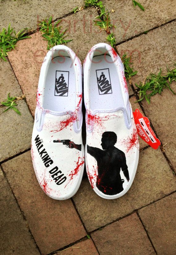 Hand Painted Walking Dead Zombie ShoesVans Slipon by