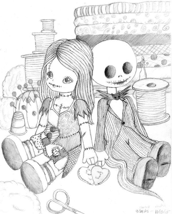 Jack And Sally Dolls By Artlyss On Deviantart Nightmare Before Christmas Drawings Halloween Coloring Pages Halloween Coloring