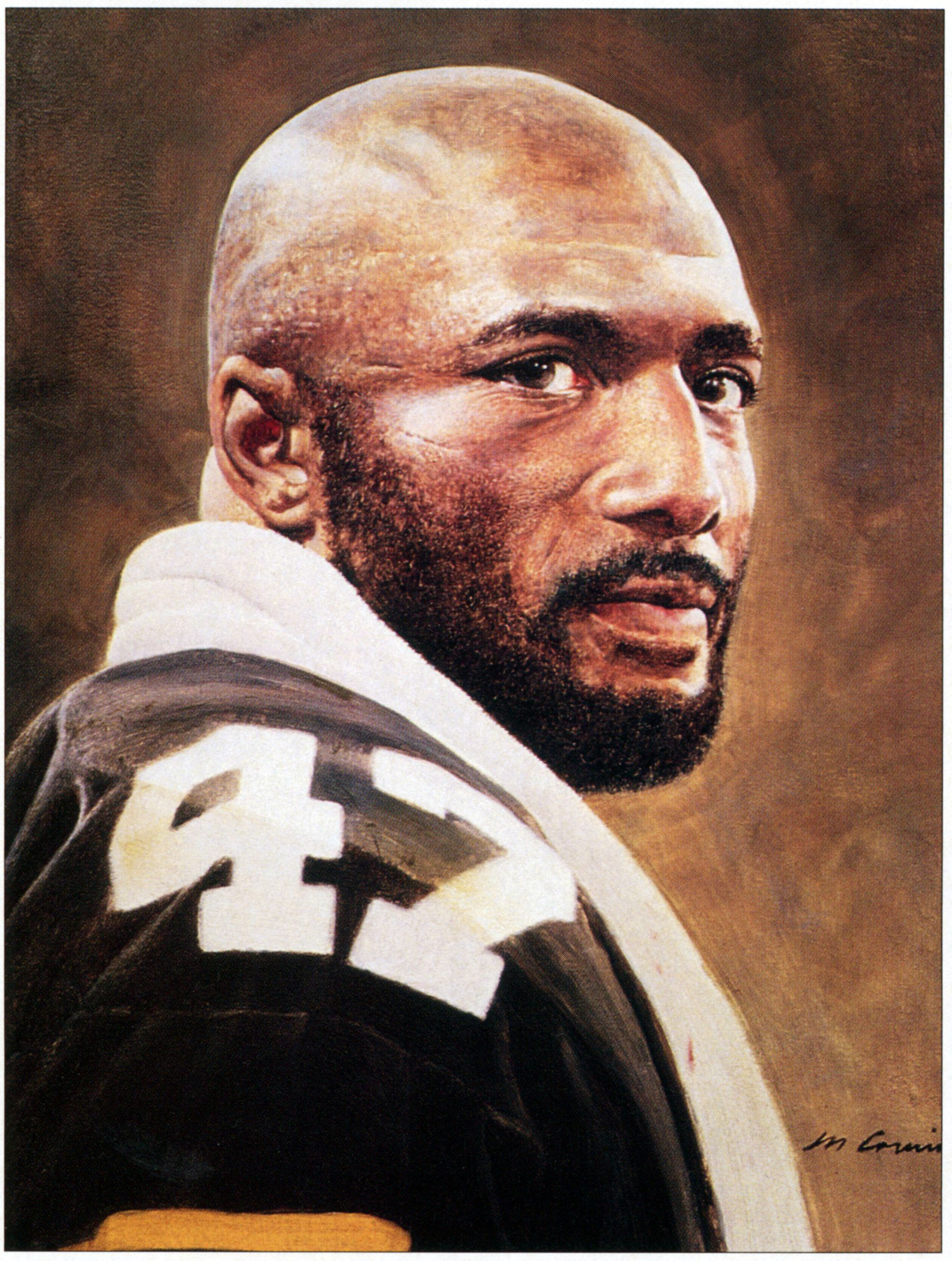 Portrait of Pittsburgh Steelers cornerback Mel Blount by artist Merv Corning.