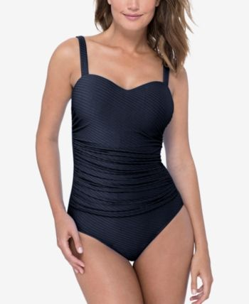 e36aae02de9bc Profile by Gottex Ribbons Textured Ruched D-Cup One-Piece Swimsuit - Black  14D