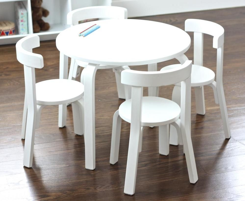 Boston Nat White Table 4 Chairs Set Round Table And Chairs