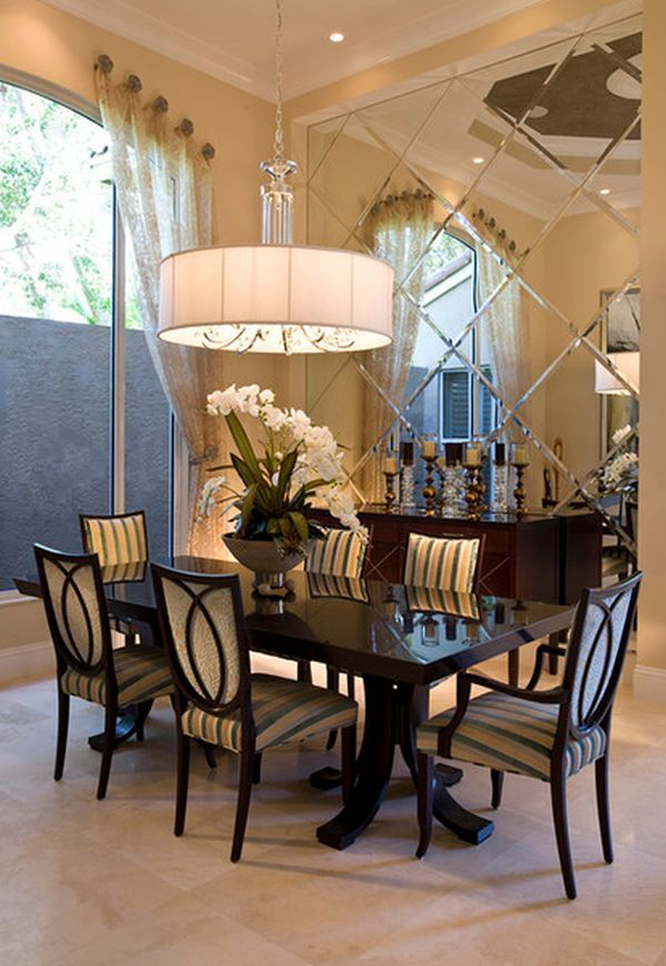 Ordinaire Stylish Dining Area With An Architectural Mirrored Wall Mirror For Dining  Room, Dinning Room Curtains