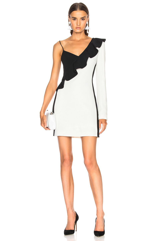 David Koma One Sleeve Diagonal Mini Ruffle Dress Davidkoma Cloth