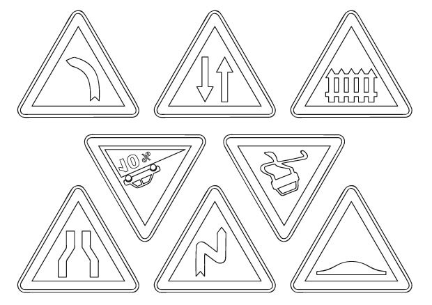 Surréaliste Coloriage panneaux de la circulation : toute la famille danger MU-08