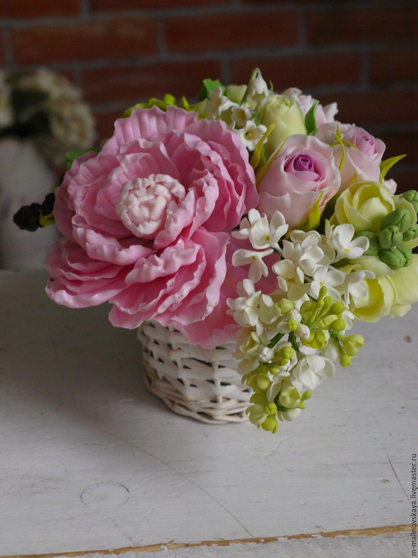 Купить корзинка с пионом. Керамическая флористика - керамическая флористика, букет из глины, цветы из глины