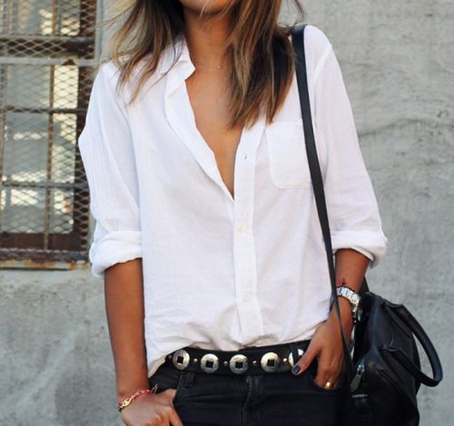 A crisp white button down shirt, black skinny jeans and a silver ...