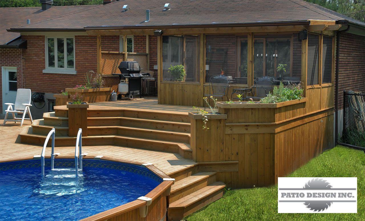 Patio avec piscine hors terre ext rieur pinterest for Amenagement patio terrasse