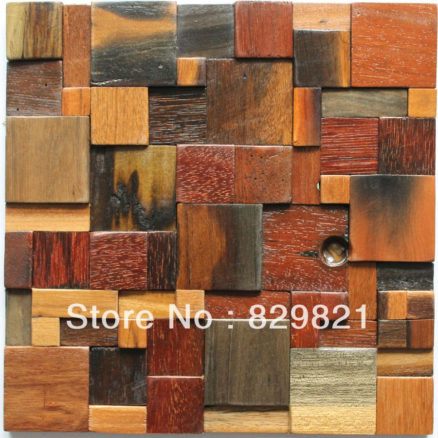 3d Wall Tiles For Kitchen: Modern Style Wood Mosaic Tiles 3D Wall Panel Background