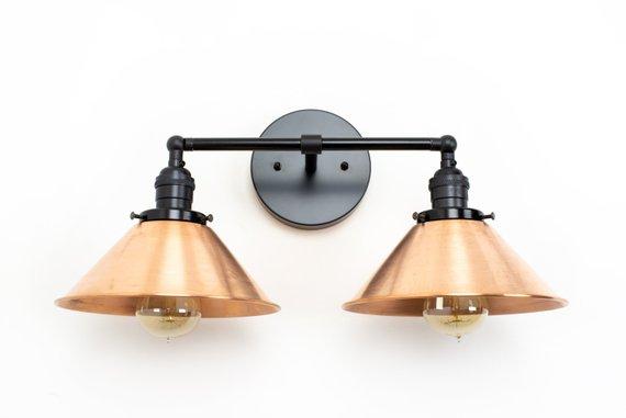 Copper Bathrom Lights Industrial Bathroom Vanity Lighting Etsy In 2020 Copper Lighting Wall Mount Light Fixture Copper Light Fixture