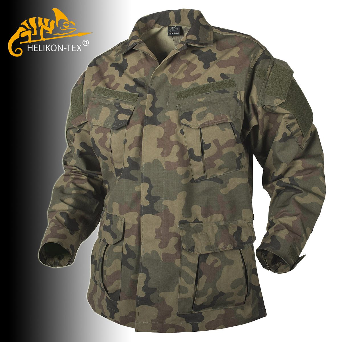Helikon-Tex SFU NEXT Shirt in Polish Woodland camo is available now at Military 1st! Based on the classic SFU design, with a casual collar, 6 large pockets with Velcro flaps, reinforced elbows with elbow pads compartments, and Velcro panels for attachment of patches or badges. Only £28.50!