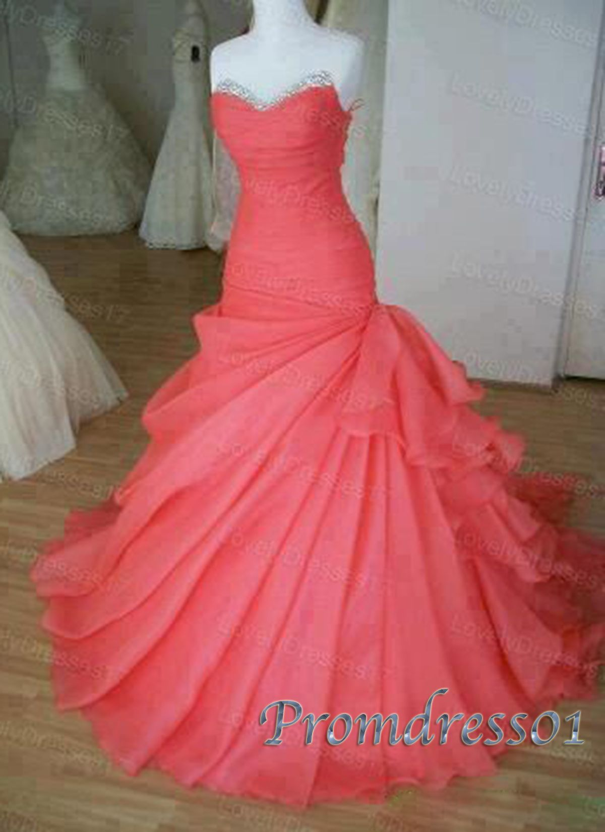 Elegant strapless hot pink chiffon long sweetheart prom dress