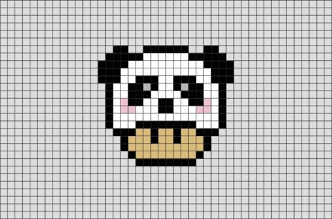Panda Mario Mushroom Pixel Art Pixel Art Pixel Art Grid