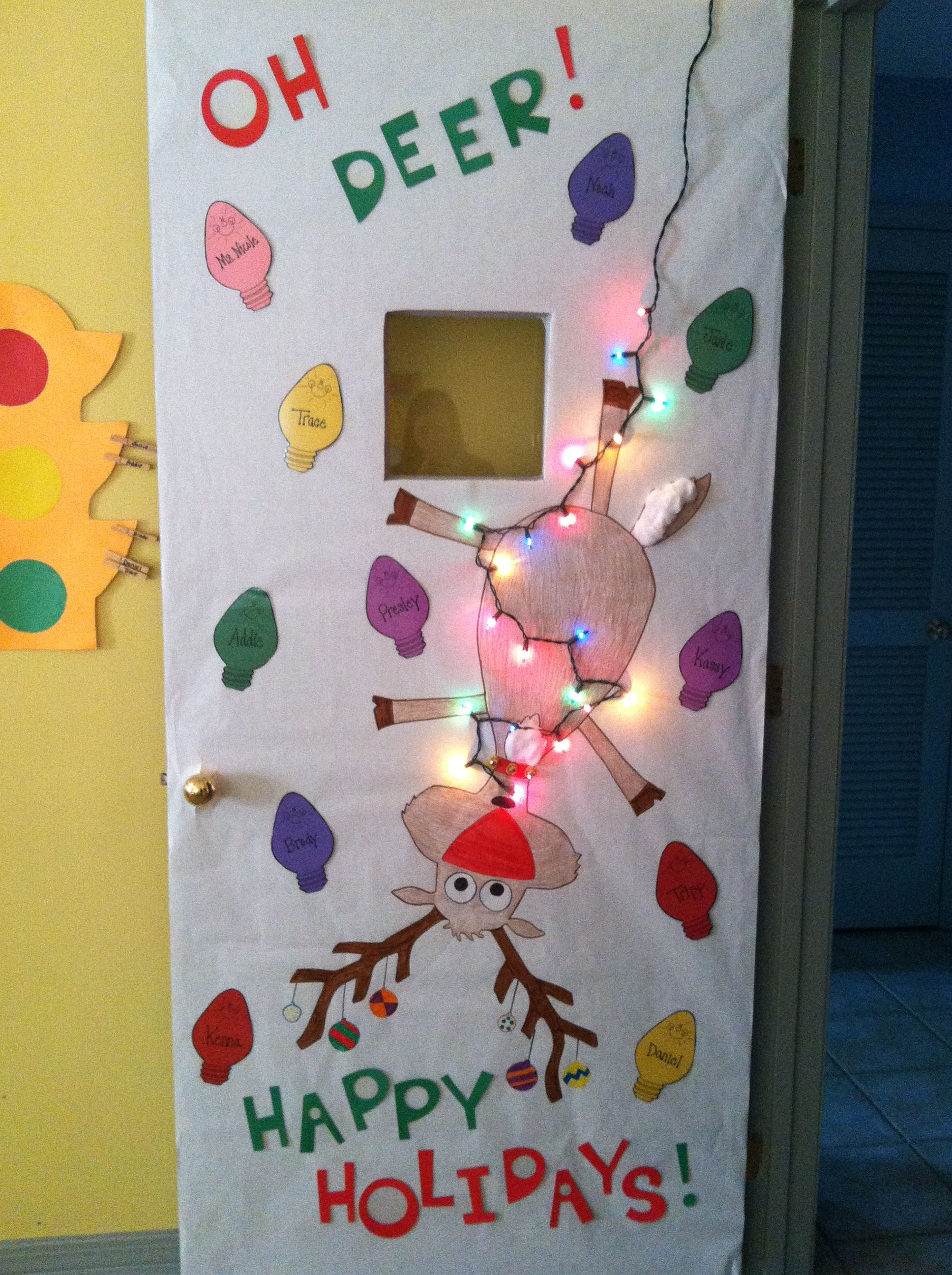 This is a cute idea for Christmas door decorations and would work ...