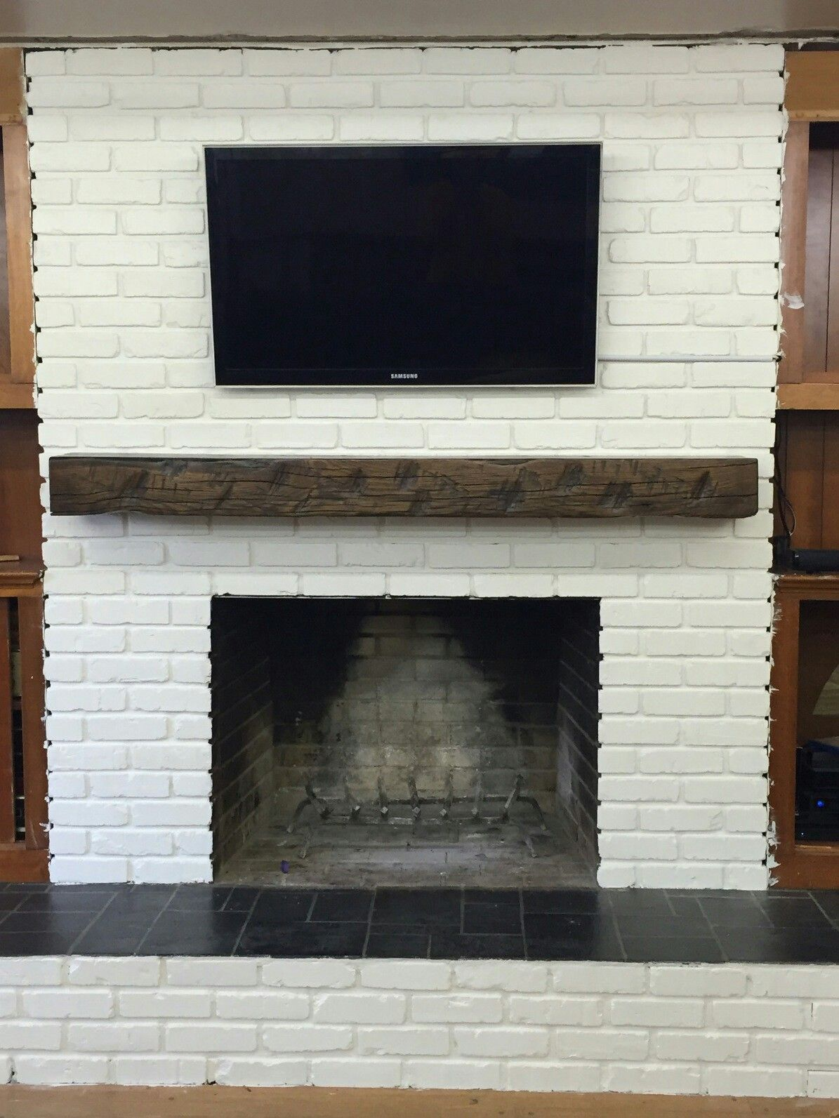 Barn beam fireplace mantle mantles pinterest mantle and