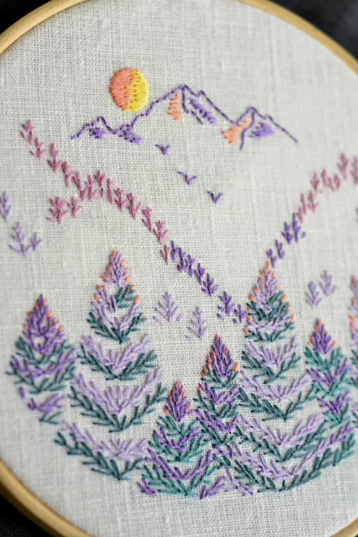 Photo of Hoop art emboidery pattern • PDF • Landscape • Mountains • Pine trees • Nature • NaiveNeedle