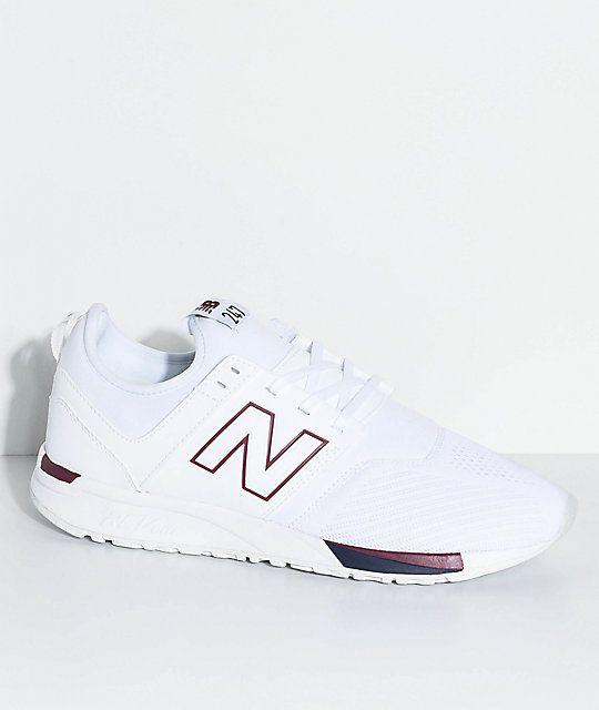 bbc6d160ae7b0 New Balance Lifestyle 247 Classic White & Burgundy Shoes   styles n ...