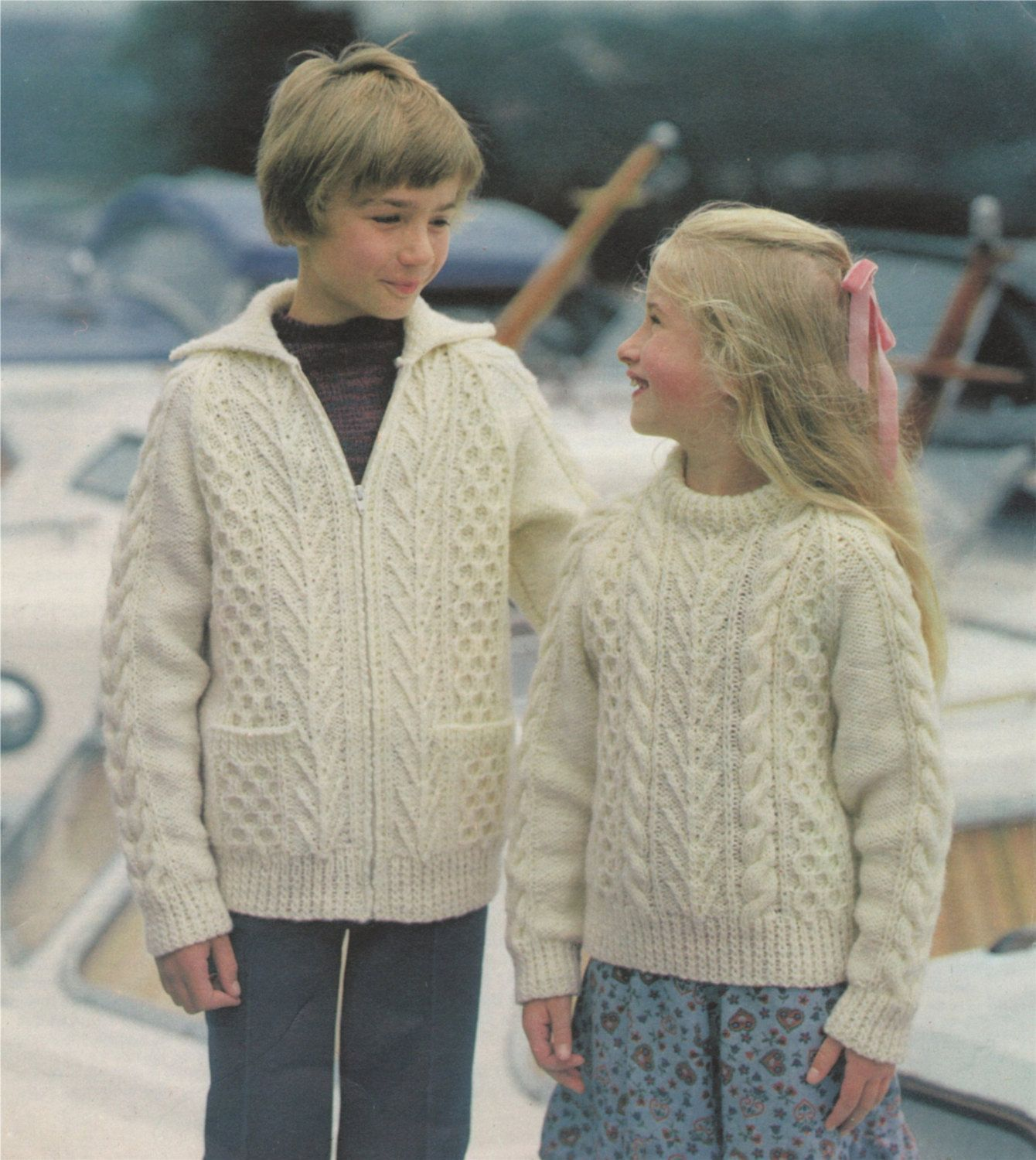 """Knitting Pattern-Boy or Girl Easy Knit jackets in Aran fits chest 20/""""-30/"""" chest"""