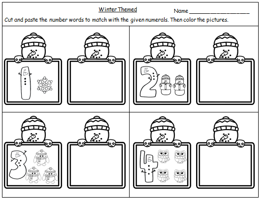Winter Themed Number Words Cut And Paste Worksheets 1 10