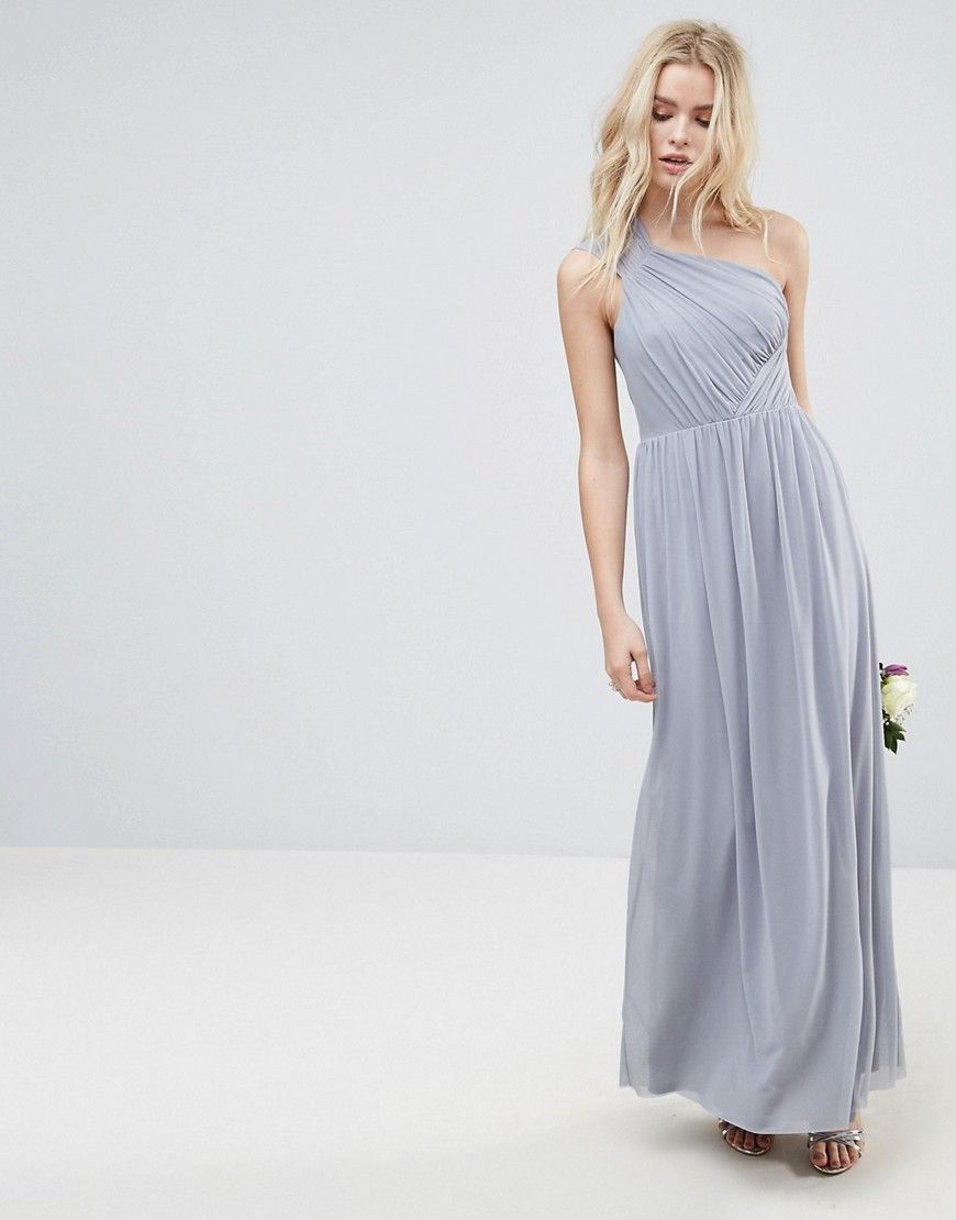 Asos wedding ruched mesh one shoulder maxi dress gray products