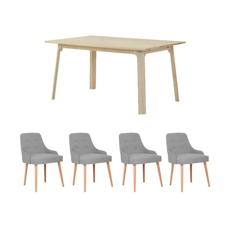 Noud Extendable Dining Table 1 5m With 4 Caitlin Chair In Gray Owl