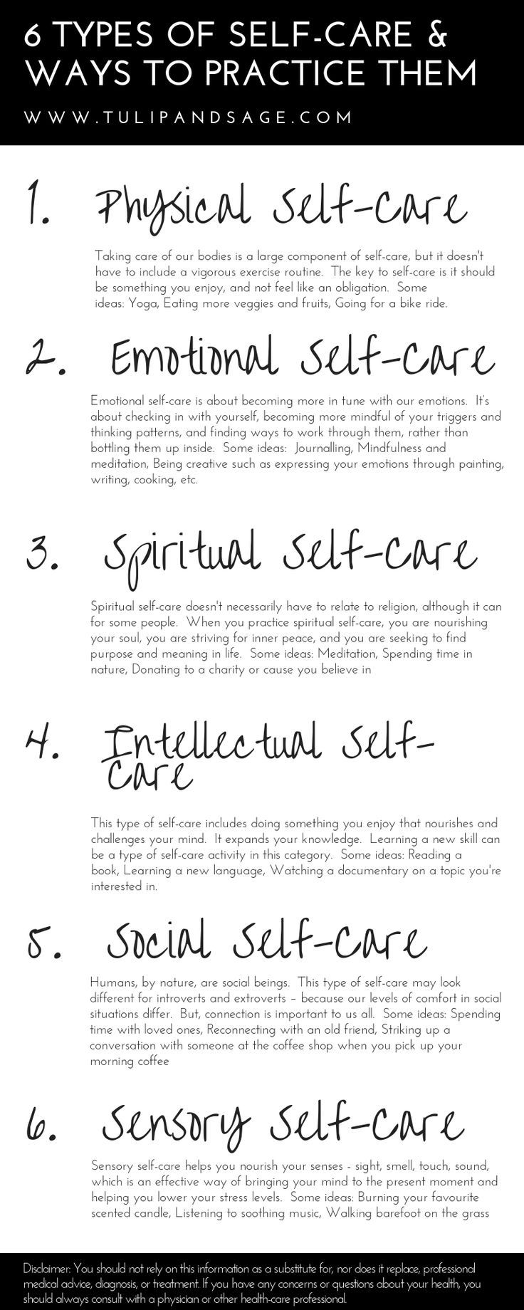6 Types of Self-Care & Ways to Practice Them | Tulip and Sage