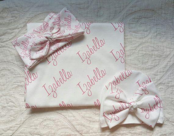 Baby Name Blanket Personalized Newborn Gift Set 100 Organic Cotton Swaddle Blanke Personalized Newborn Gifts Newborn Gift Sets Personalized Swaddle Blanket