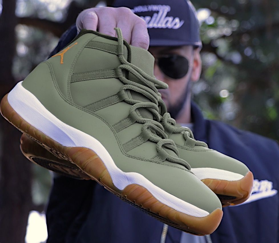 save off 4fc8b e653d Custom Jordan 11 in Matte Olive Green & Gum Bottom Soles ...
