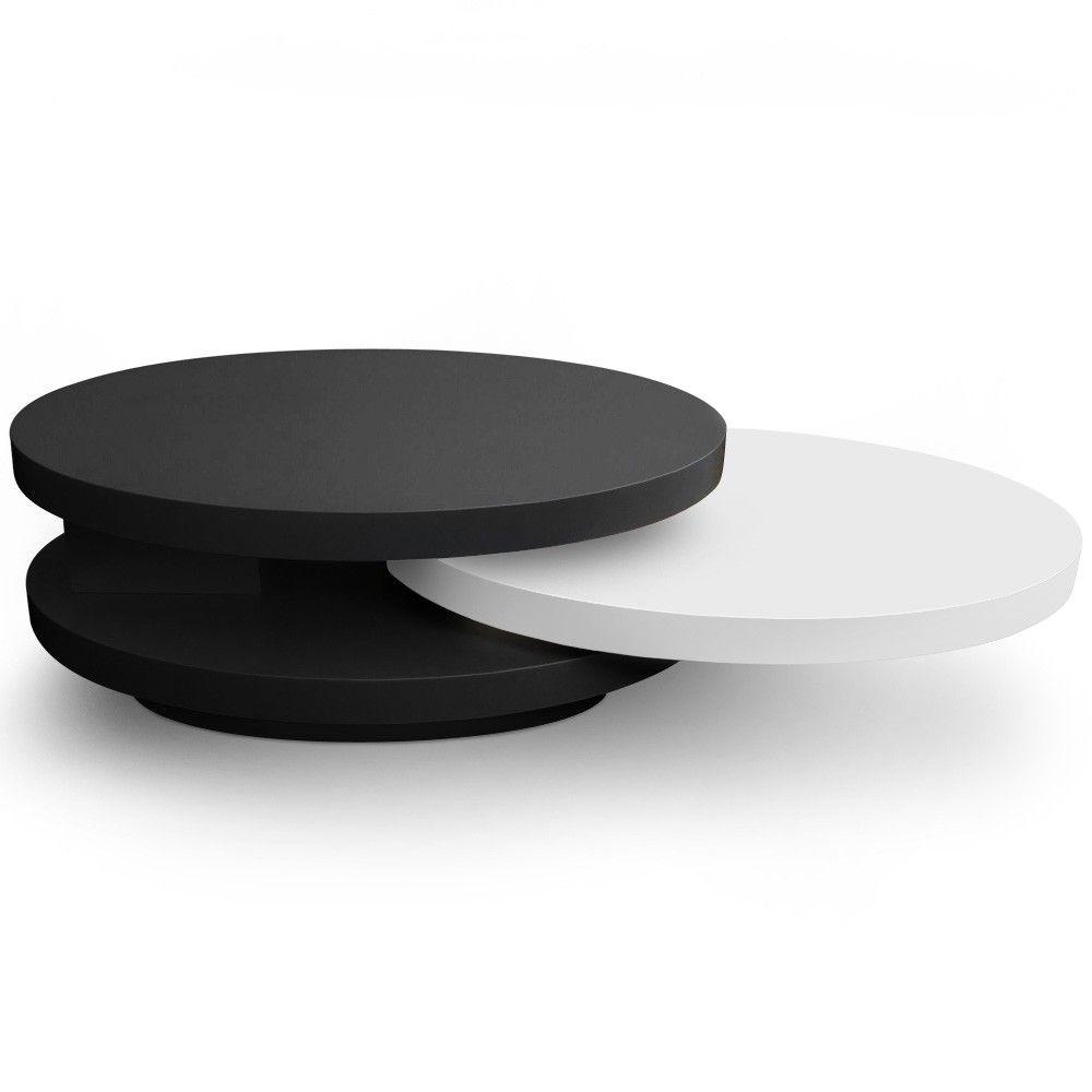 Table basse ovale gala avec plateaux tournants noir et - Table basse noir et blanc design ...