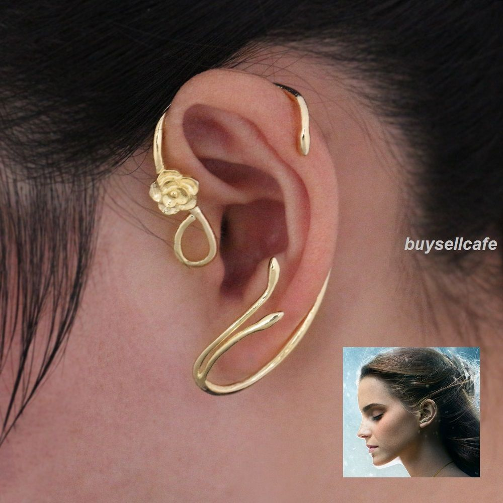 Details About Disney Beauty And The Beast Belle Rose Earrings Ear Cuff Gold  Plated Copper