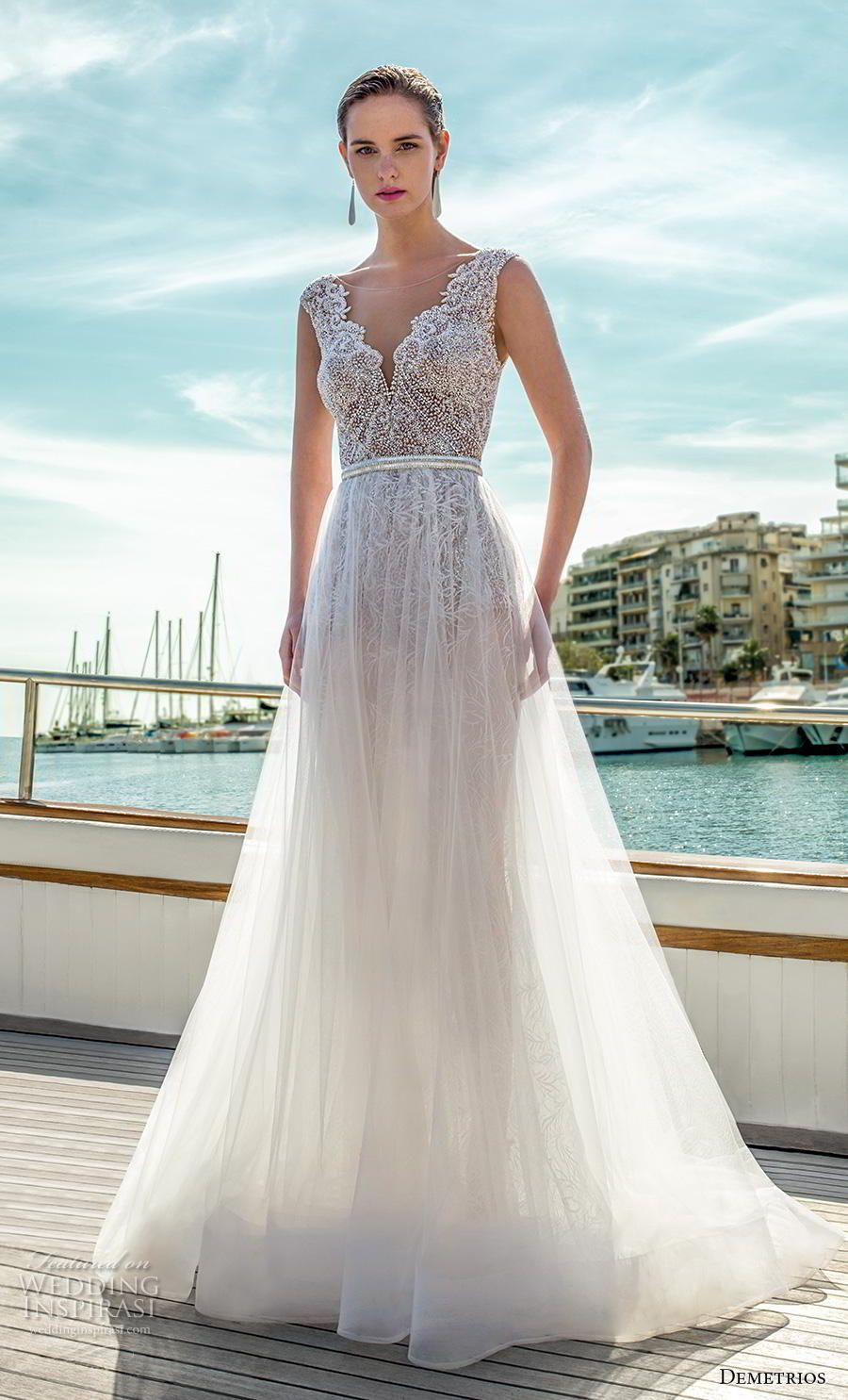 Lace wedding dress with back out january 2019 Destination Romance by Demetrios  Wedding Dresses in