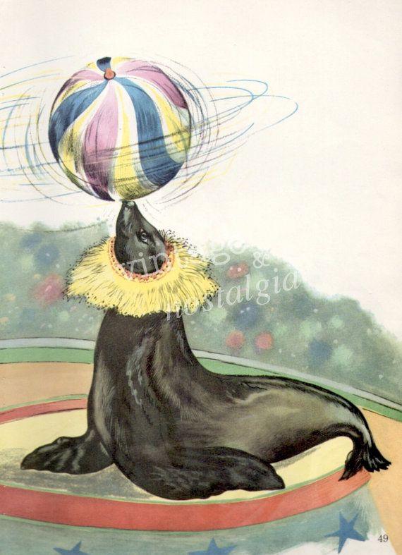 1960s CIRCUS SEAL  vintage illustration by VintageAndNostalgia, $13.95