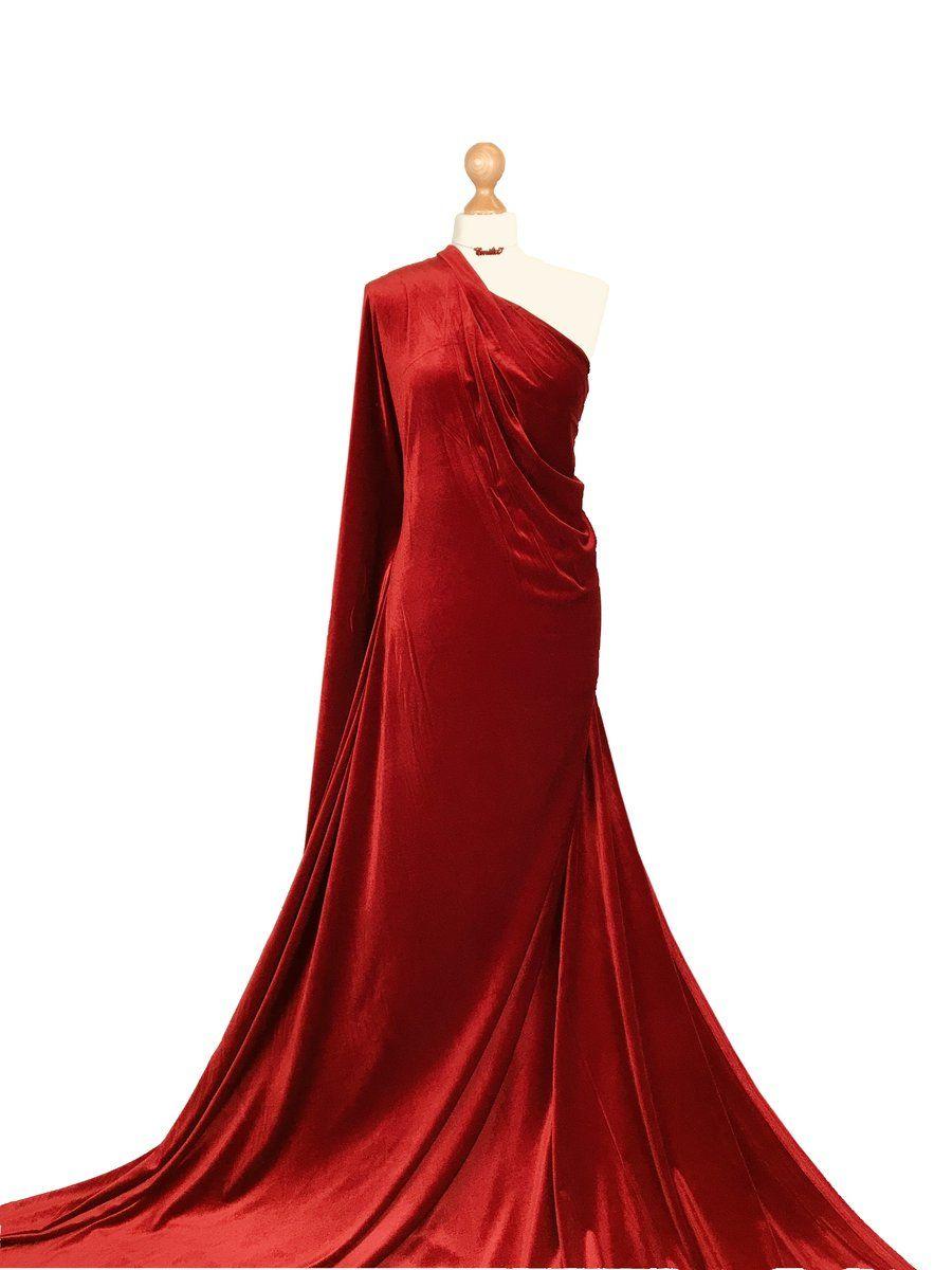 Red Wine Velour 4 Way Stretch Spandex Velvet Fabric