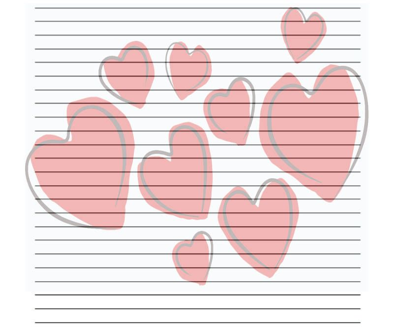 Cluster Of Red Hearts ValentineS Printable Stationery Set