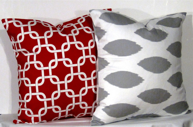 Ikat and Gotcha Pillow Set - Set of 16 x 16 Inch Chevron Pillow Covers - Grey and Red - TWO PILLOW COVERS. $23.00, via Etsy.