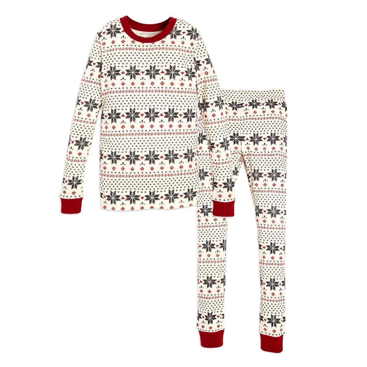 b85c73322 Hand Drawn Snowflakes Organic Big Kids Holiday Matching Pajamas ...