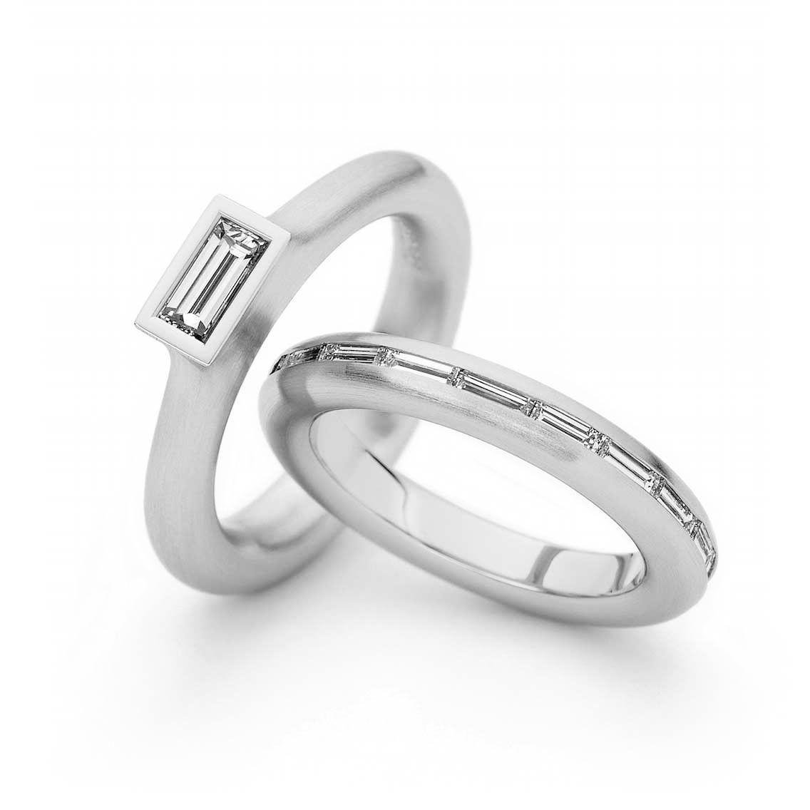 Henrich & Denzel - Toska Baguette Engagement Ring - ORRO contemporary Jewellery  Glasgow - Platinum Engagement