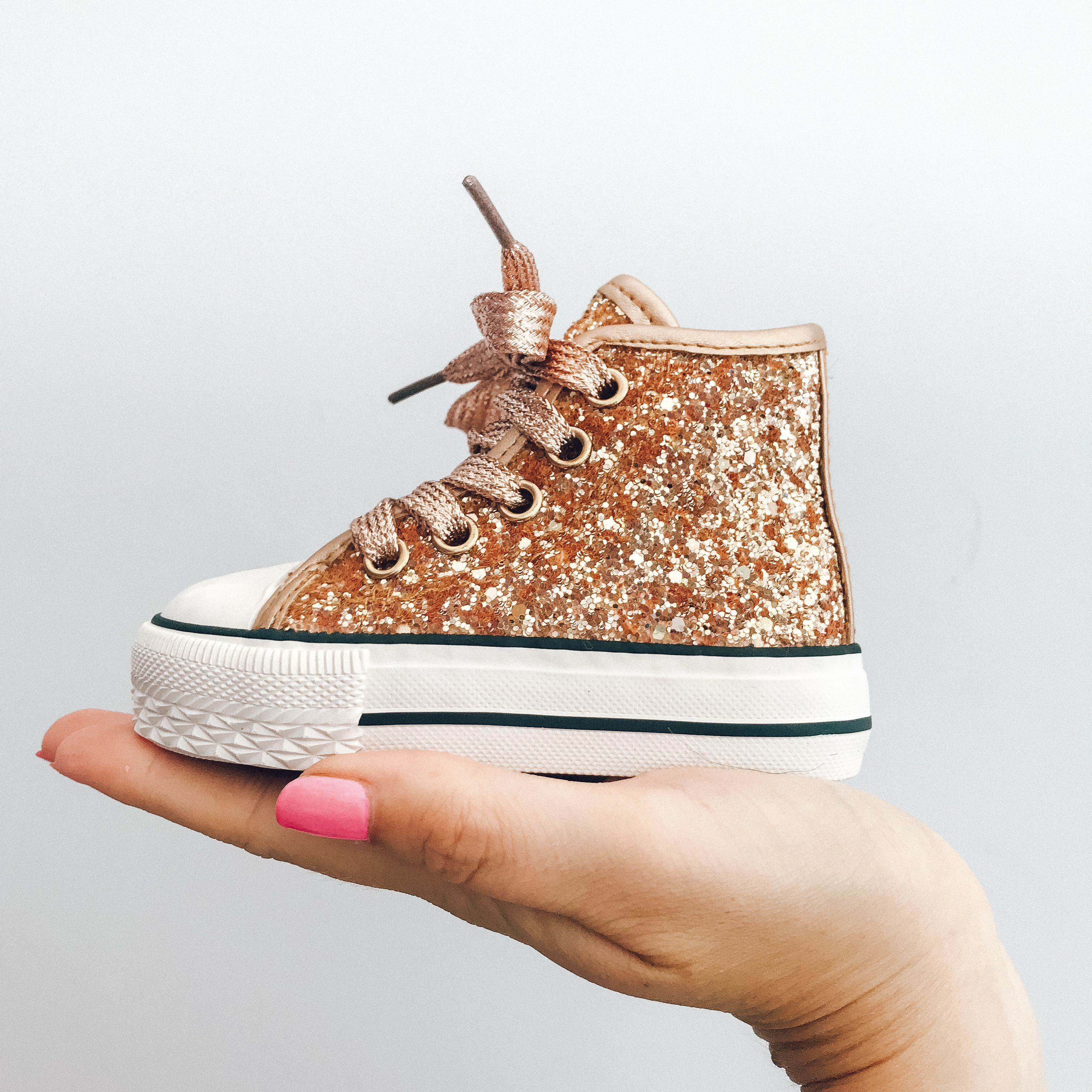 finest selection new cheap detailed pictures Itty Bitty Girls Glitter Gold High Top Trainers | aguardo ...