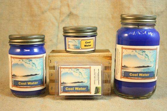Cool Water Candle and Wax Melts, Male Fragrance Scent ...